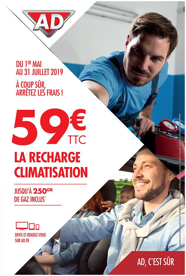Du 1er mai au 31 juillet 2019, la recharge de climatisation à 59 € ttc, 250 gr de gaz inclus dans votre garage AD à Saint Fulgent en Vendée