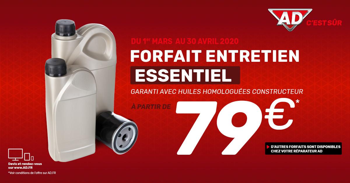 """Du 1er mars au 30 avril  - Forfait entretien """"essentiel"""" à partir de 79 euros au Garage David AD Expert à Saint Fulgent en Vendée"""