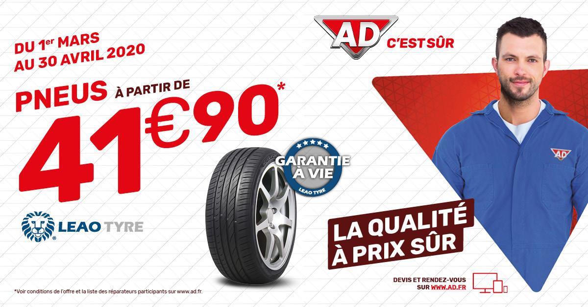 Du 1er mars au 30 avril  - Pneus à partir de 41.90 € au Garage David AD Expert à Saint Fulgent en Vendée
