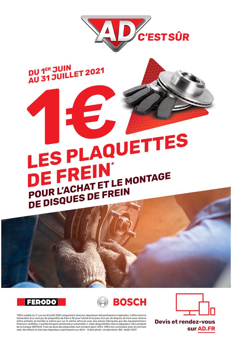 Du 1er juin au 31 juillet 2021 poour l'achat et le montage de disques de frein 1 € les plaquettes de frein* au Garage David AD Expert à Saint Fulgent en Vendée