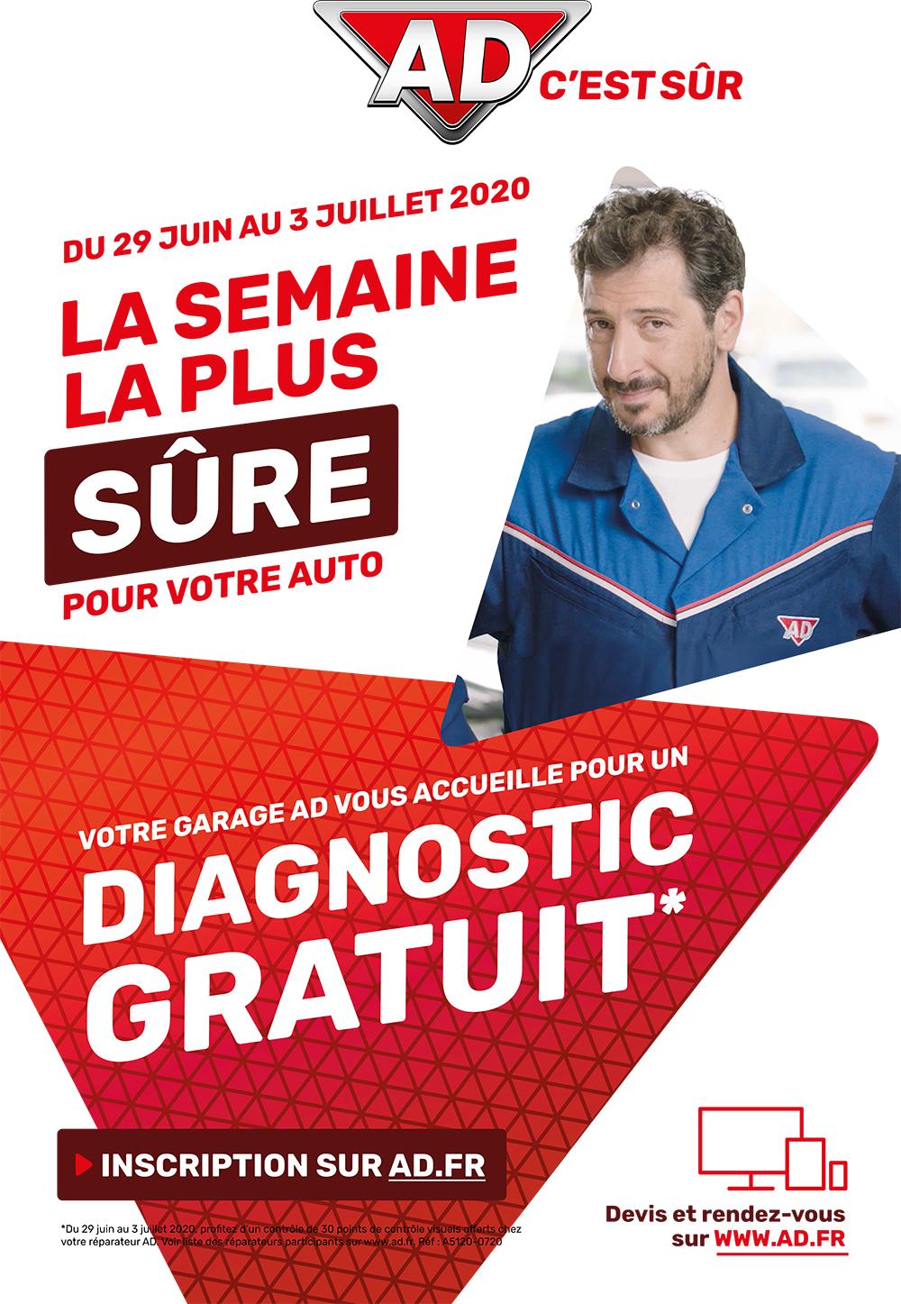 La semaine la plus sûre pour votre auto du 29 juin au 3 juillet 2020 avec AD Garage David qui vous accueille pour un diagnostic gratuit*
