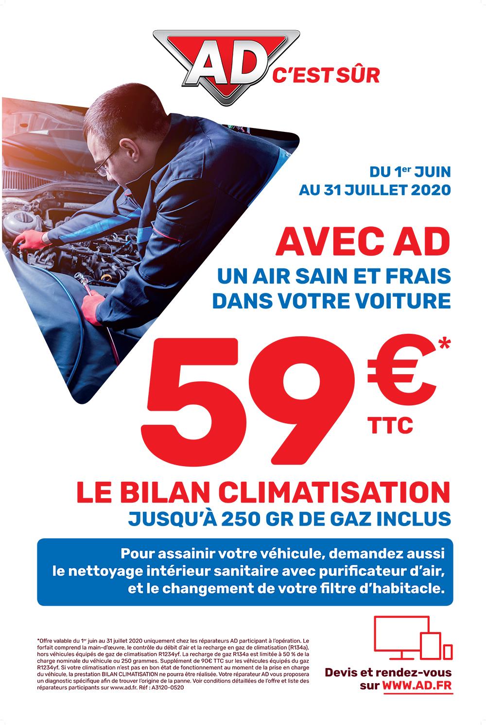 Avec AD Garage David, un air sain et frais dans votre voiture avec le bilan climatisation à partir de 59 euros du 1 juin au 31 juillet 2020