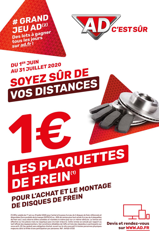 Avec AD Garage David, soyez sur de vos distances avec les plaquettes de frein à 1 € pour l'achat et le montage de disque de frein du 1 juin au 31 juillet 2020