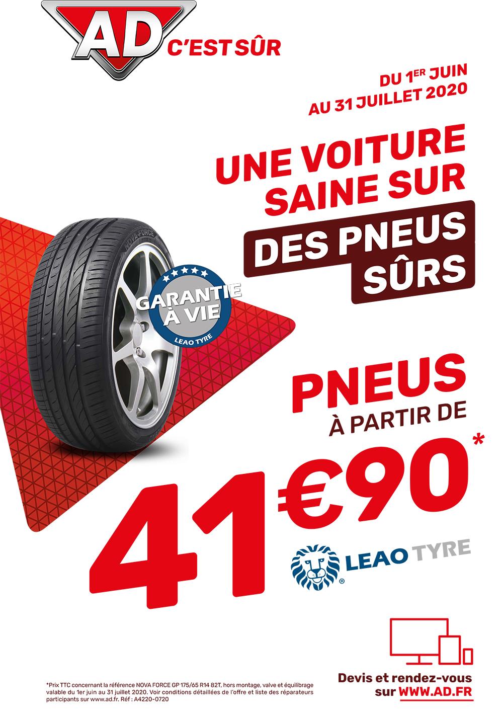 Avec AD Garage David, une voiture saine sur des pneus sûrs avec les pneus Leao Tyre à partir de 41.90 € du 1 juin au 31 juillet 2020