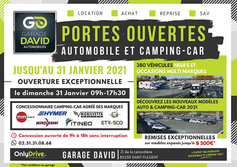 Portes ouvertes auto & camping-car du 16 au 31 janvier 2021 au Garage David à Saint Fulgent en Vendée, profitez de remises exceptionnelles sur les modèles exposés