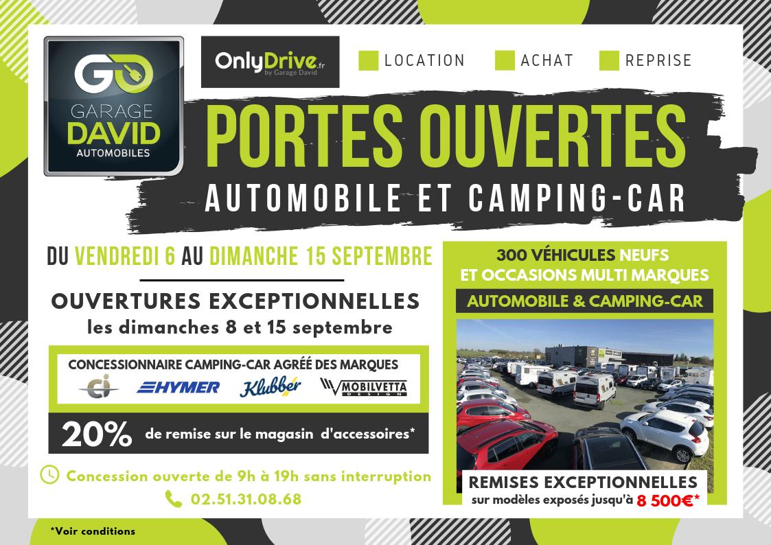 Portes ouvertes auto et camping-car du 6 au 15 septembre au Garage David à Saint Fulgent en Vendée. Remises exceptionnelles jusqu'au 8500 euros sur les modèles exposés