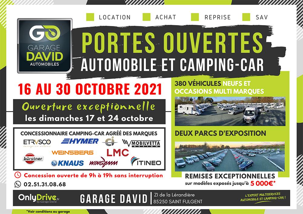 Portes Ouvertes Automobiles et Camping-car du 16 au 30 octobre 2021 avec des ouvertures exceptionnelles les dimanches 17 et 24 octobre 2021 et des remises jusqu'à 5000 euros sur les modèles exposés.