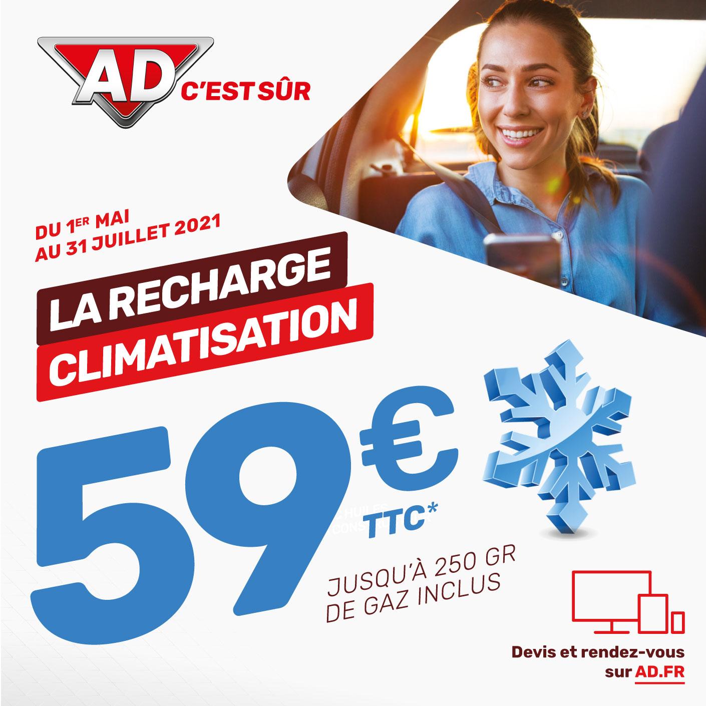 Du 1 mai au 31 juillet 2021,  59 euros la recharge de climatisation jusqu'à 250 gr de gaz inclus dans votre Garage David Ad Expert à Saint Fulgent