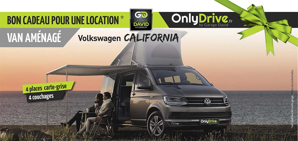 Bon cadeau pour une location en van aménagé Volkswagen California - Garage David Onlydrive