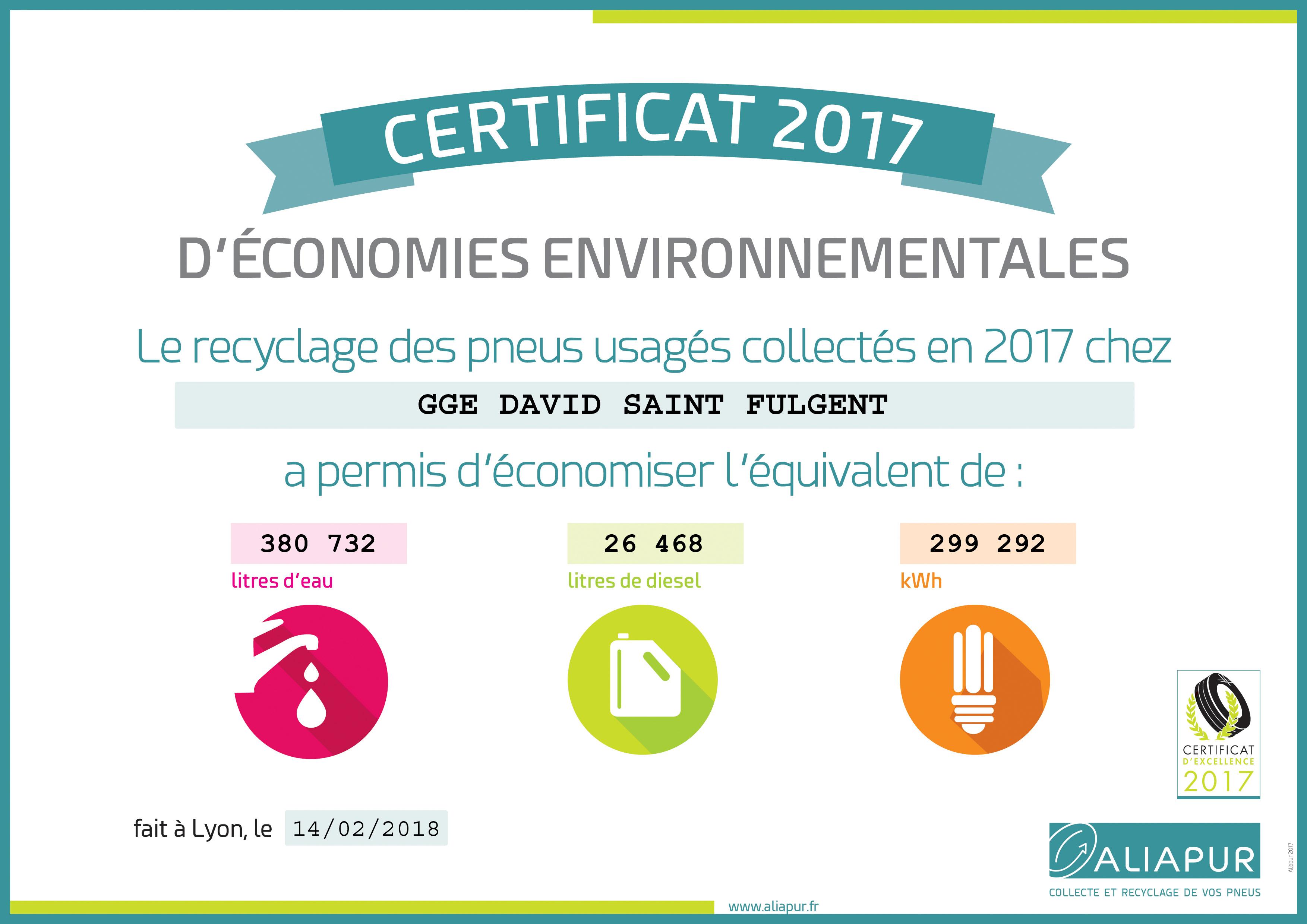 Certificat 2017 d'économies environnementales au Garage David à Saint Fulgent en Vendée