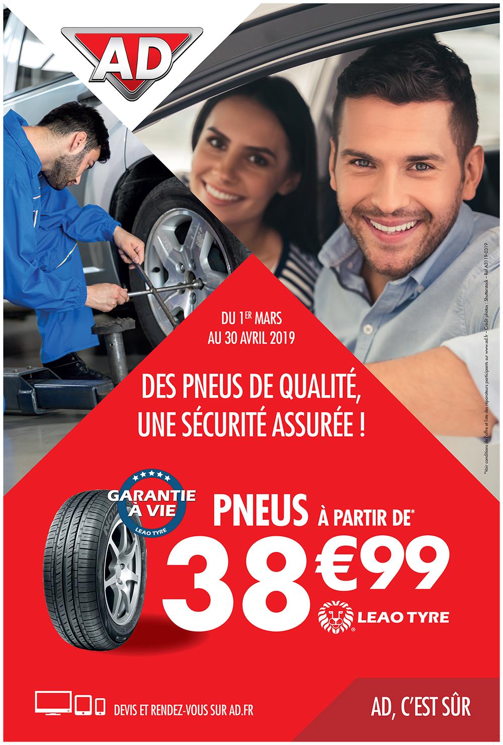 Offre pneumatique LEAO à partir de 38.99 € du 1er mars au 30 avril 2019 au Garage David AD à Saint Fulgent en Vendée