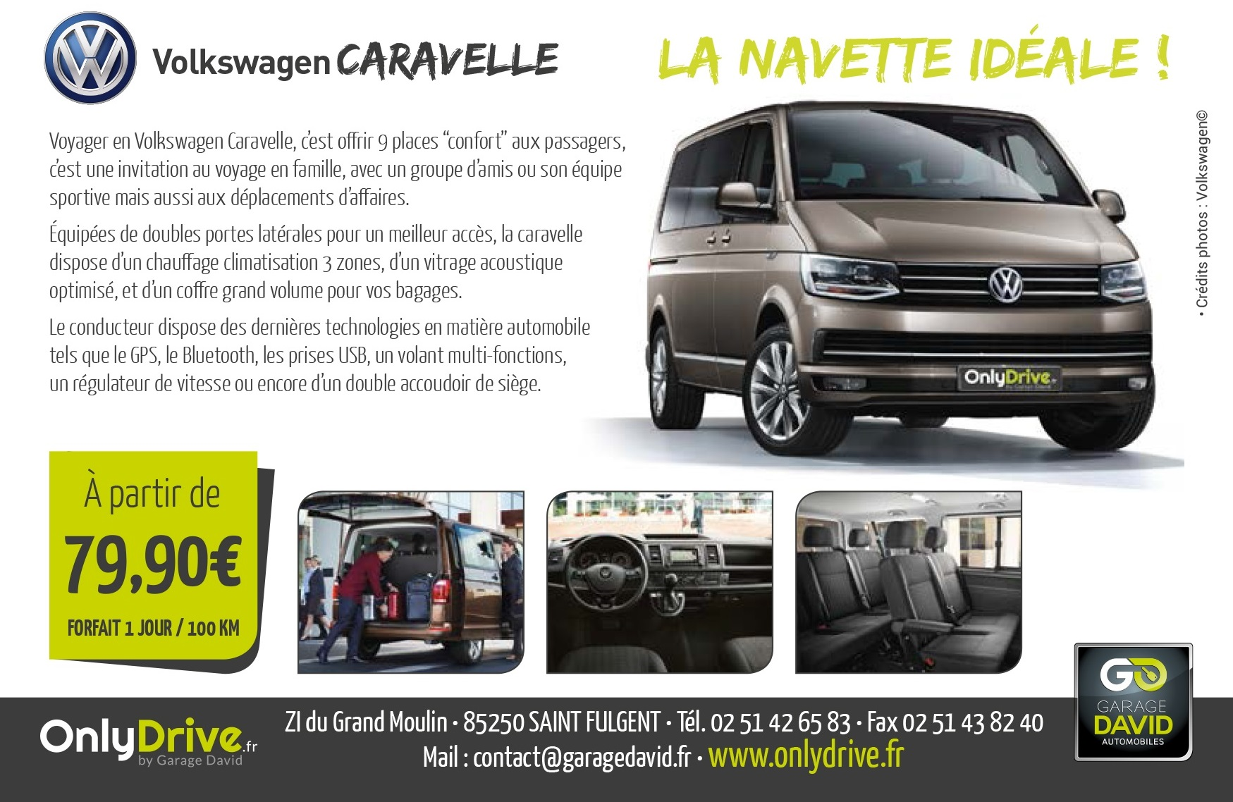 Location d'un Volkswagen Caravelle 9 places à Saint Fulgent Garage David Onlydrive.fr