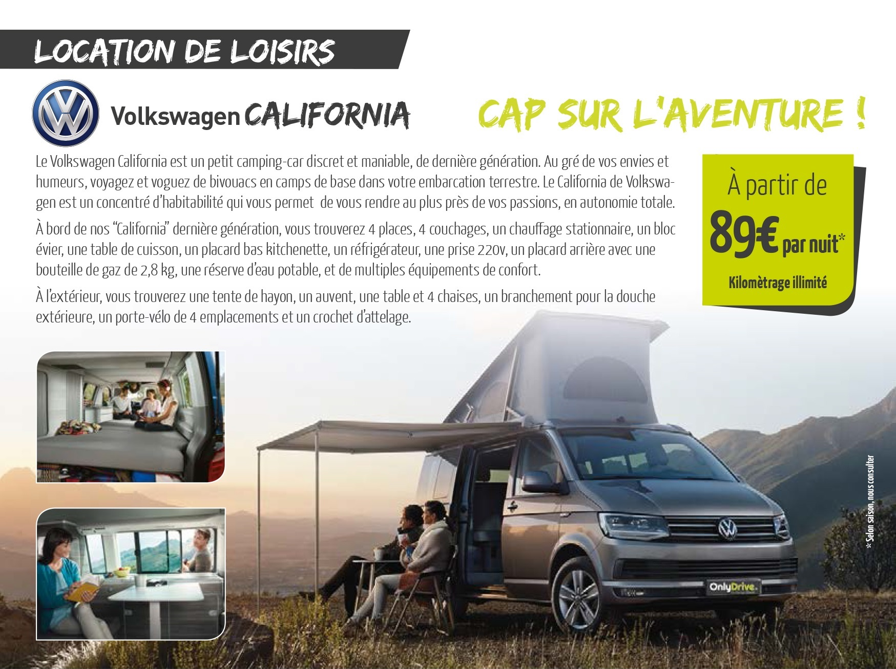 Location d'un Volkswagen California 4 places 4 couchages à saint Fulgent en Vendée, Garage David Onlydrive.fr