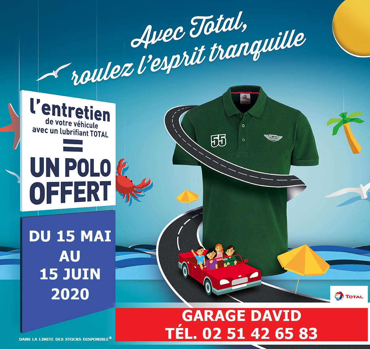 Du 15 mai au 15 juin 2020, L'entretien de votre véhicule avec un lubrifiant Total = un polo offert au Garage David Saint Fulgent en Vendée