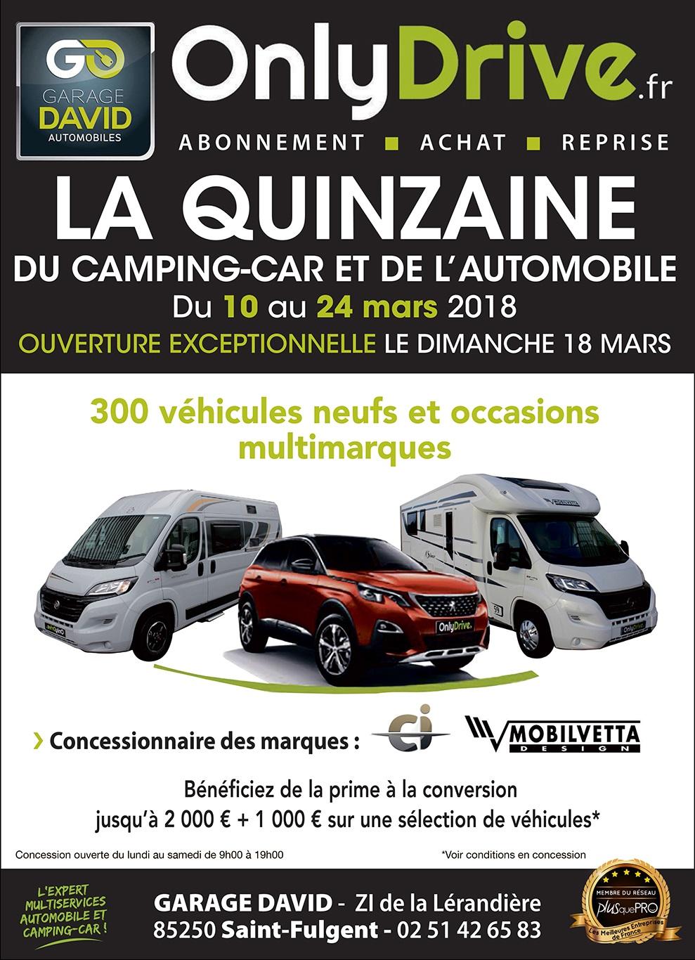 Le Garage David participe à la quinzaine du camping-car et de l'automobile qui se déroule du 10 au 24 mars 2018