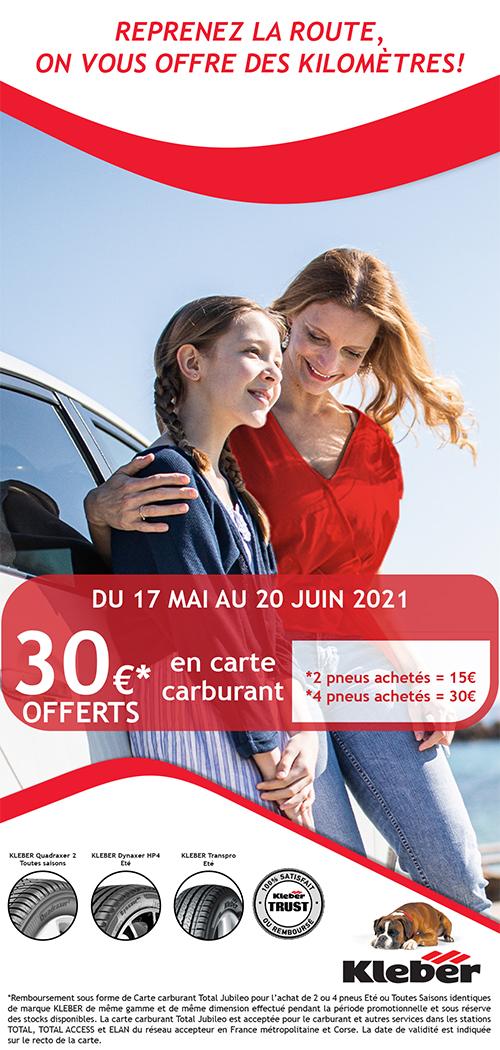 Reprenez la route, on vous offre des kilomètres pour l'achat de pneus Kleber,  jusqu'à 30 euros offert en carte carburant