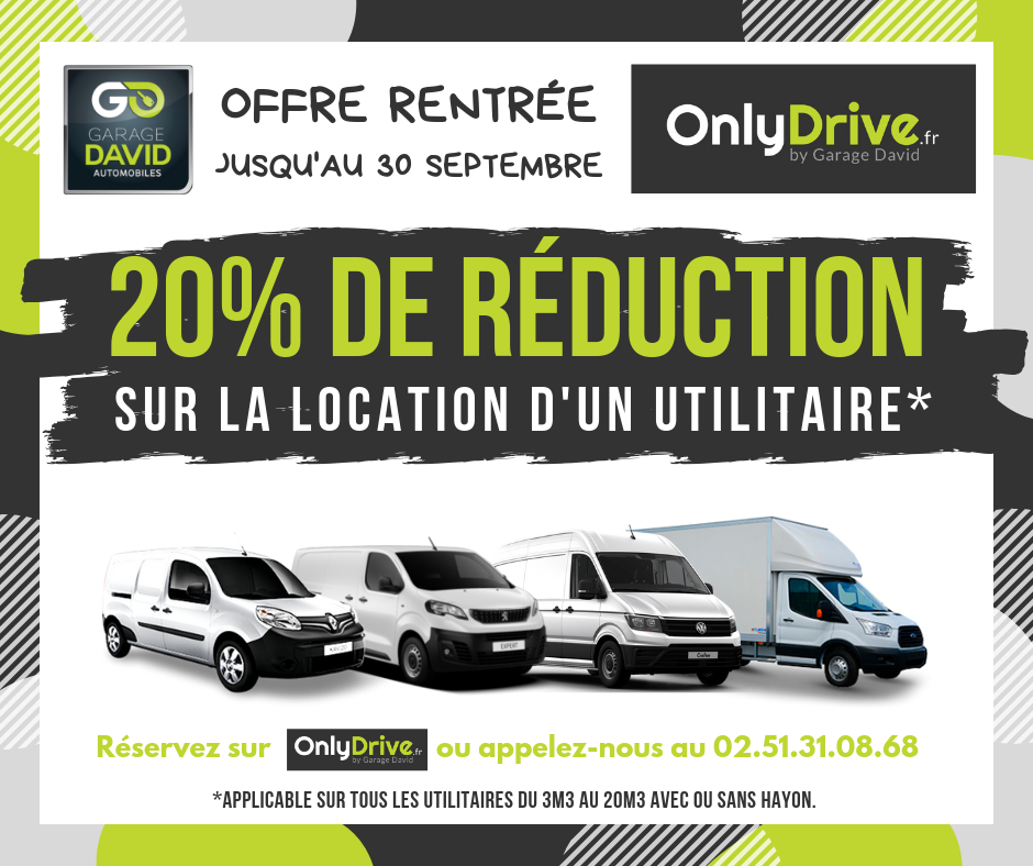 Jusqu'au 30 septembre, le Garage David avec son agence de location Onlydrive propose une offre rentrée sur la location courte durée d'utilitaire allant de 3m3 au 20m3 hayon.