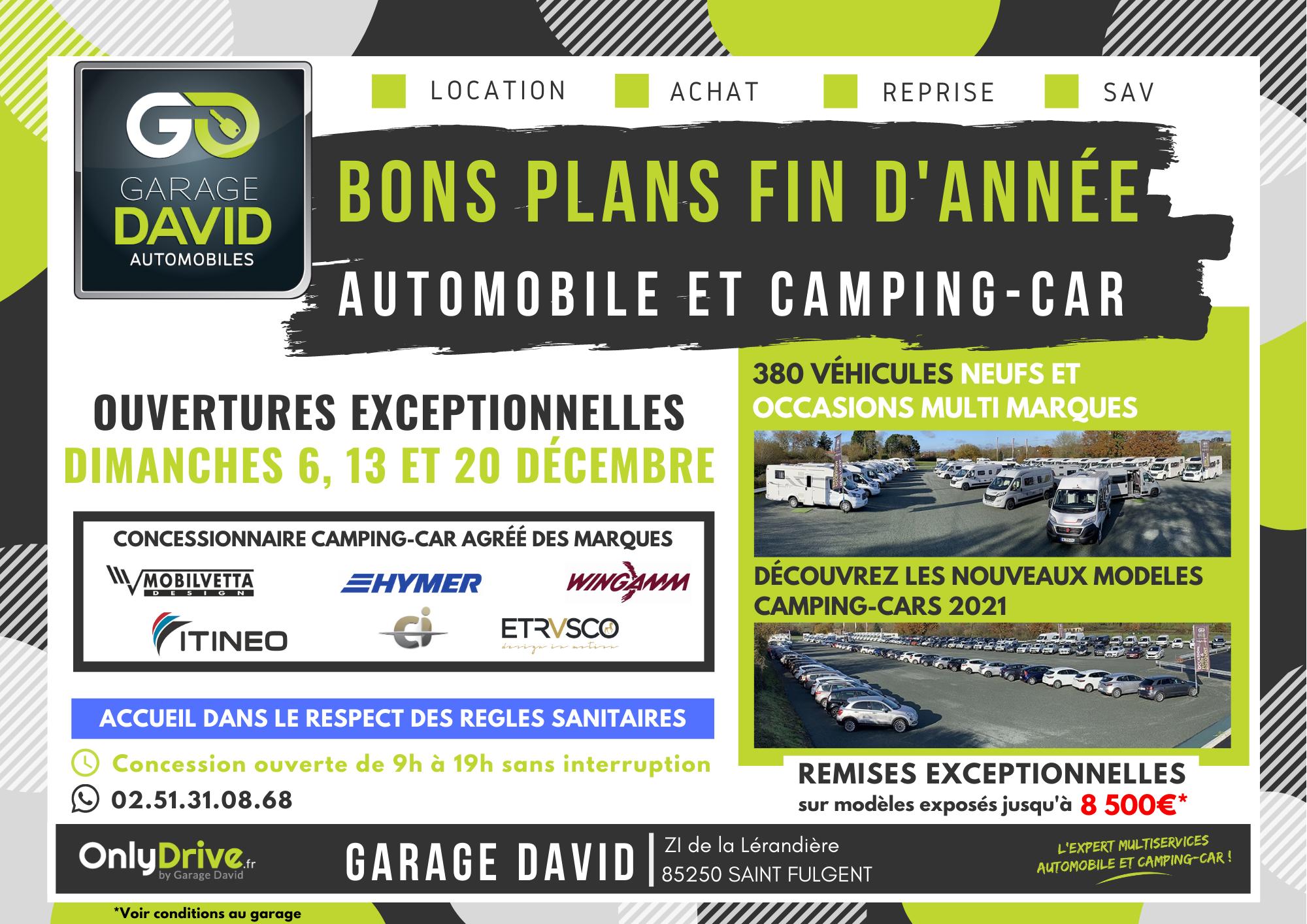 Profitez les bons plans auto et camping-car  sur cette fin d'année 2020 avec des remises exceptionnelles jusqu'à 8 500 €*