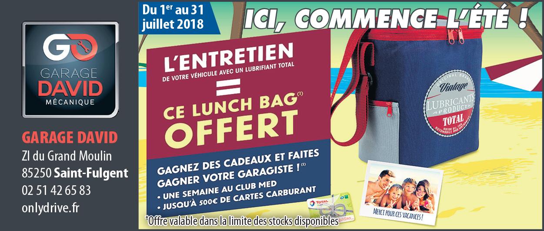 Du 1er au 31 juillet 2018, un lunch bag offert pour une révision avec de l'huile Total au Garage David à Saint Fulgent en Vendée