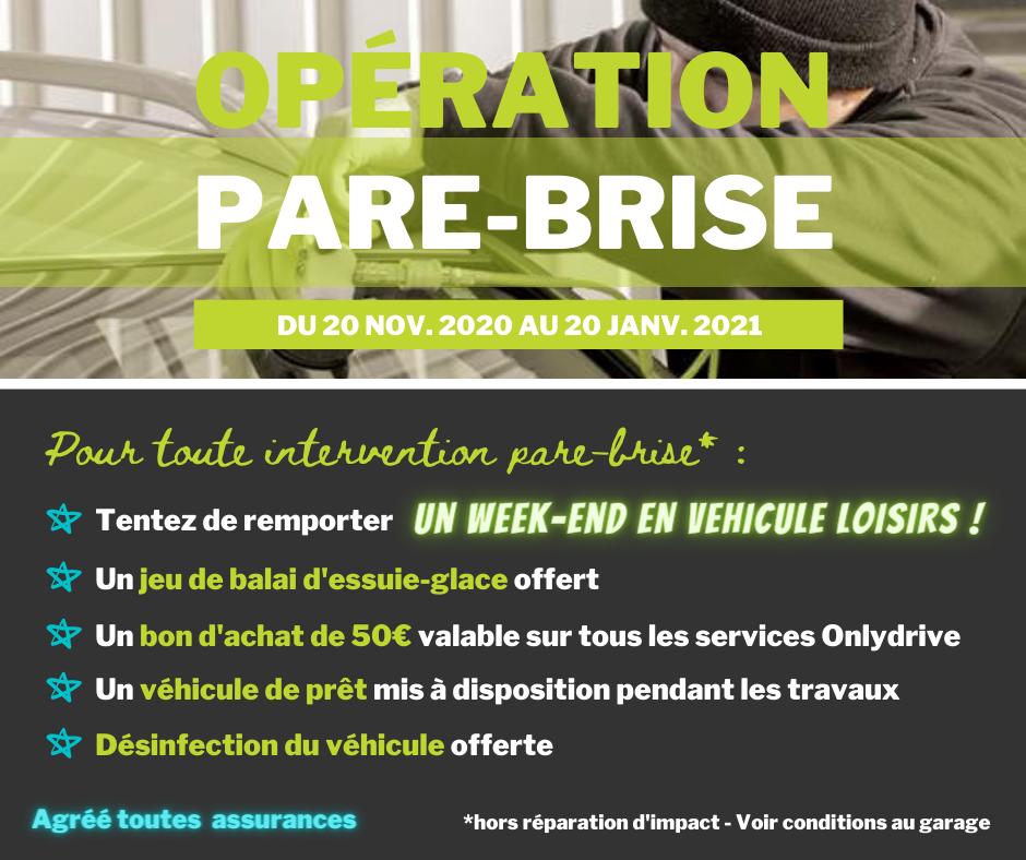 Opération Pare-Brise du 20 novembre  2020 au 20 janvier 2021 au Garage David à Saint Fulgent en Vendée