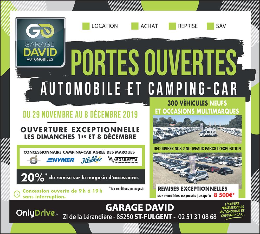 Portes ouvertes auto et camping-car spécial Black Friday au Garage David à Saint Fulgent en Vendée