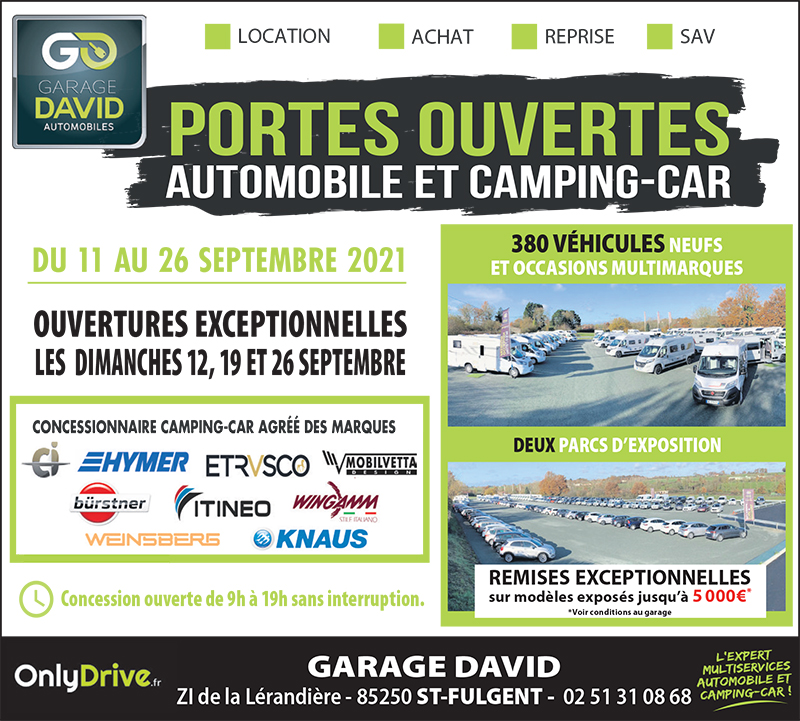Portes ouvertes auto & camping-car du 11 au 26 septembre 2021, profitez de remises exceptionnelles jusqu'à 5000 euros sur les modèles exposés au Garage david à Saint Fulgent en Vendée