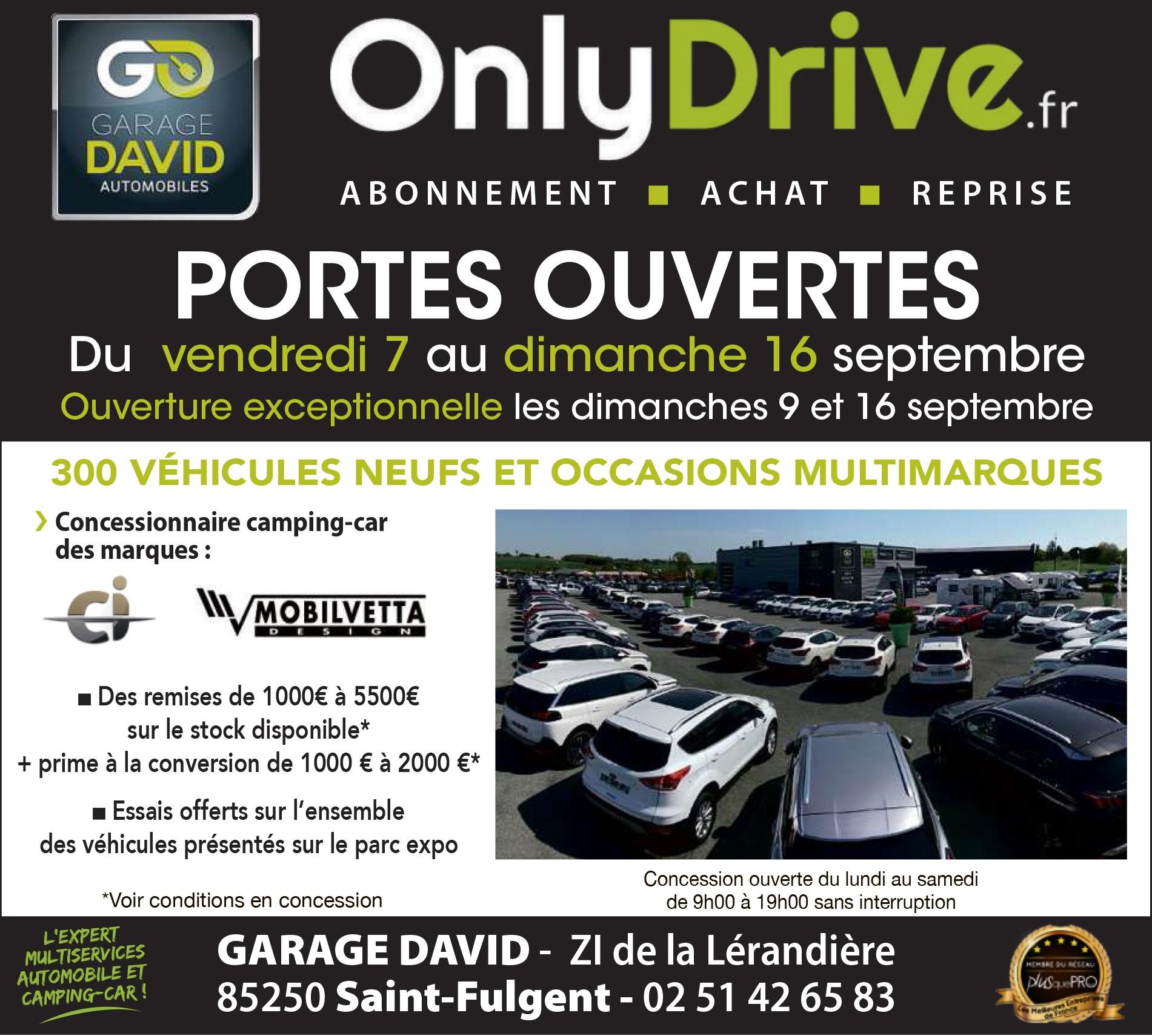 Portes ouvertes automobile et camping-car du 7 au 16 septembre 2018 avec une ouverture exceptionnelle les dimanche 9 et 16 septembre au Garage David Onlydrive à Saint Fulgent en Vendée