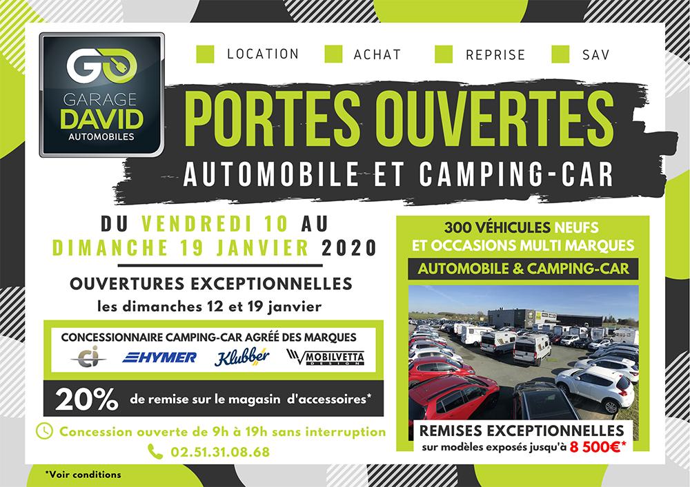 Portes ouvertes auto et camping-car du 10 au 19 janvier 2020 au Garage David Saint Fulgent en Vendée