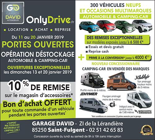 Portes ouvertes opération déstockage automobile & camping-car du 11 au 20 janvier 2019 au Garage David à Saint Fulgent en Vendée