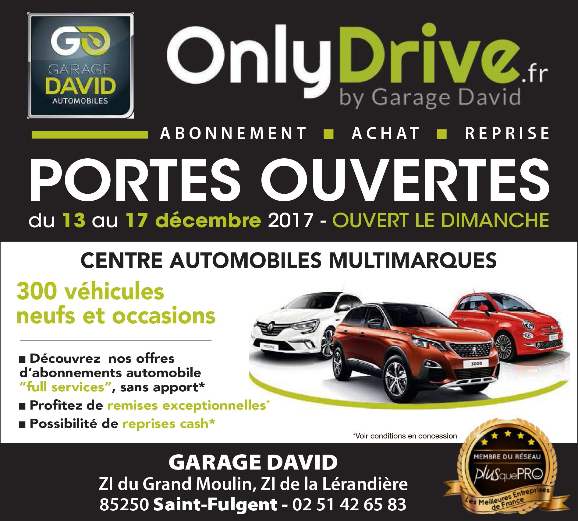 Portes ouvertes du 13 au 17 décembre 2017 au Garage David à Saint Fulgent en Vendée