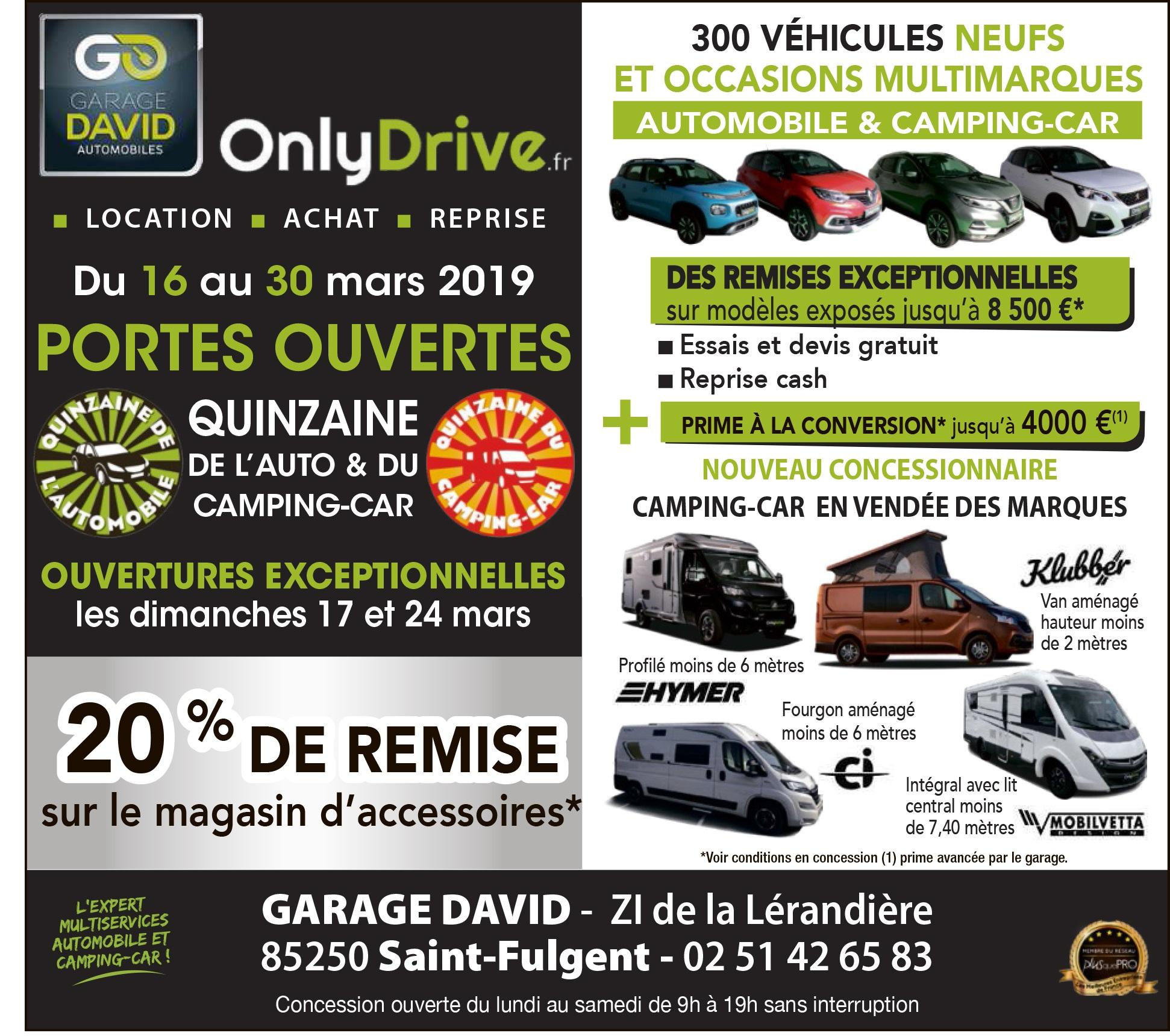 """Portes ouvertes """"Quinzaine de l'automobile et du camping-car"""" du 16 au 30 mars 2019 au Garage David à Saint Fulgent en Vendée"""