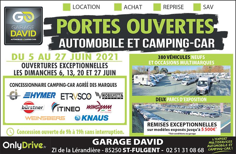 Portes ouvertes automobile & camping-car du 05 au 27 juin 2021 au Garage David Onlydrive à Saint Fulgent en Vendée, profitez de remises exceptionnelles et de nombreux avantages