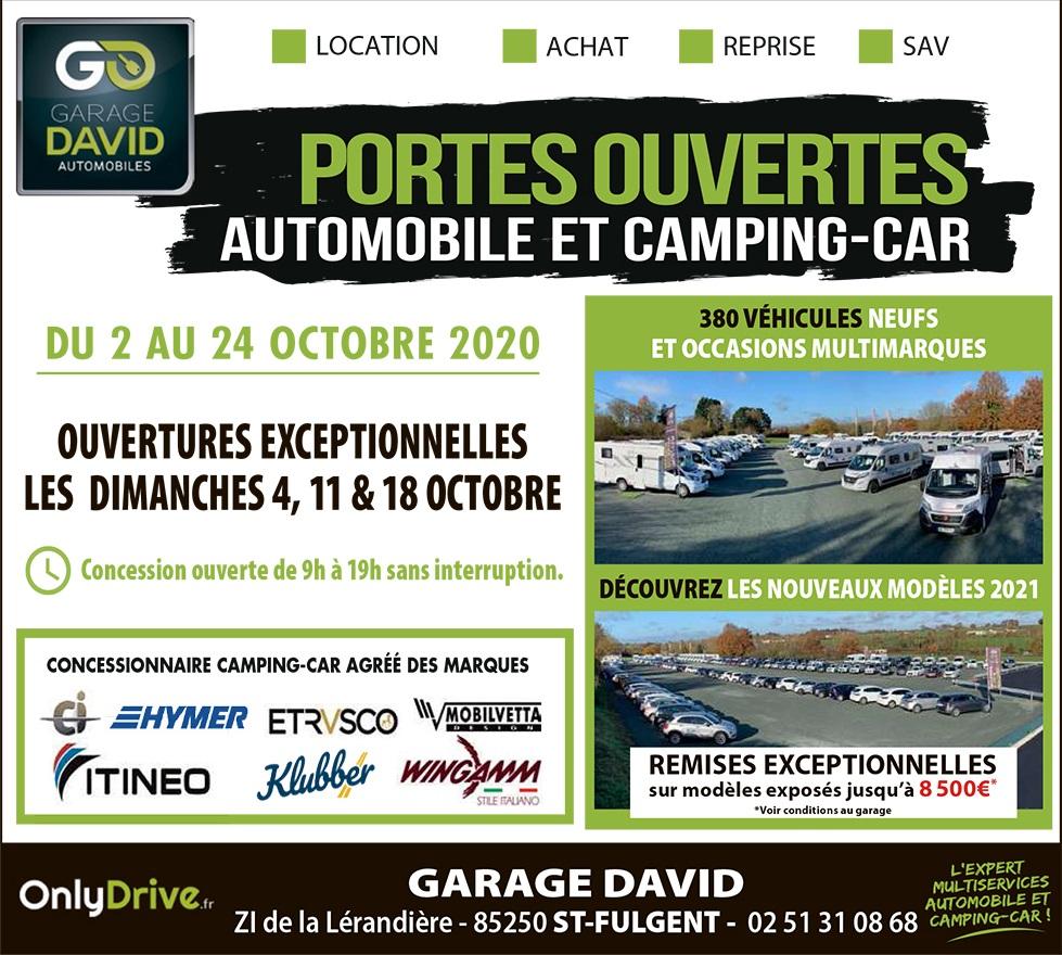 Portes ouvertes auto & camping-car du 2 au 24 octobre 2020 au Garage David à Saint Fulgent en Vendée
