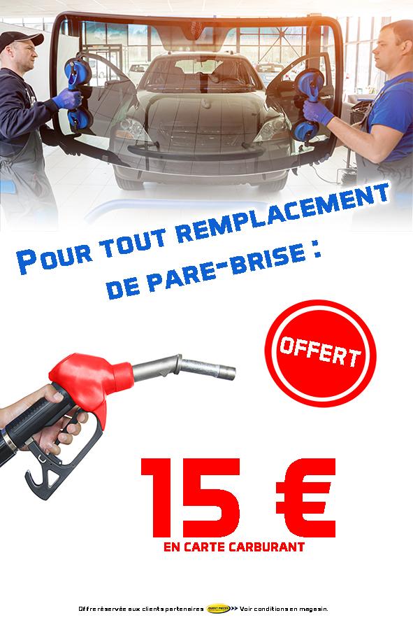 Du 1er au 30 mars 2019, pour tout remplacement de pare-brise, le garage David vous offre 15 euros en carte carburant