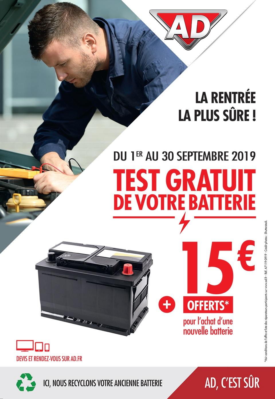 Du 1 au 30 septembre, 15 euros offert pour l'achat d'une nouvelle batterie au Garage David Onlydrive - réseau AD à Saint Fulgent en Vendée