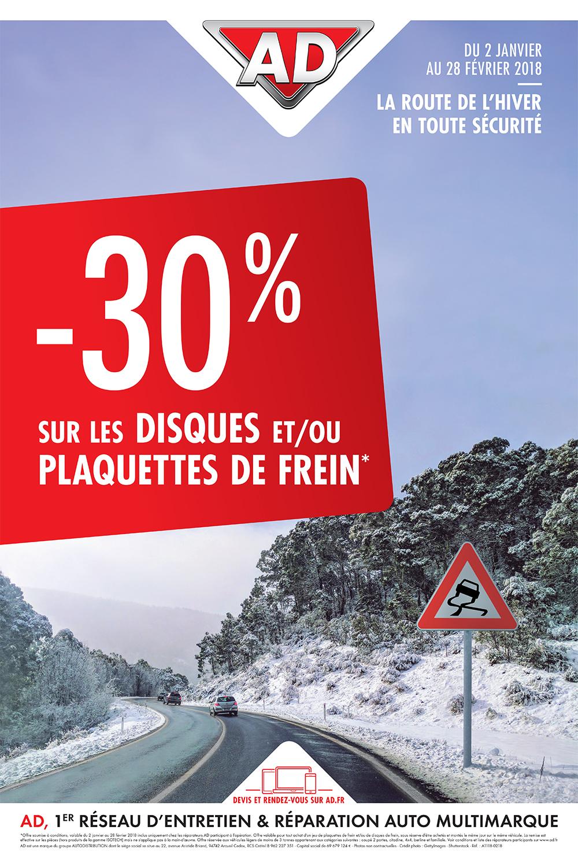 Promo freinage AD avec mois 30 pourcent sur les disques et/ ou plaquette de freins du 2 janvier au 28 février 2018 garage David OnlyDrive à Saint Fulgent en Vendée