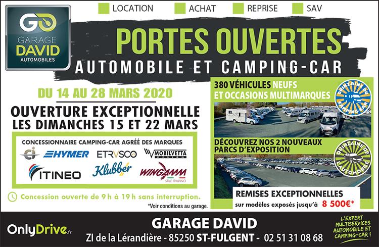 Portes ouvertes : quinzaine de l'automobiles et du camping-car du 14 au 28 mars au Garage David à Saint Fulgent. Bénéficiez de remises exceptionnelles sur les modèles exposés.
