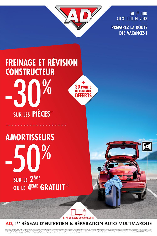 Du 1er juin au 31 juillet 2018, préparez la route des vacances avec AD Garage David à Saint Fulgent en Vendée