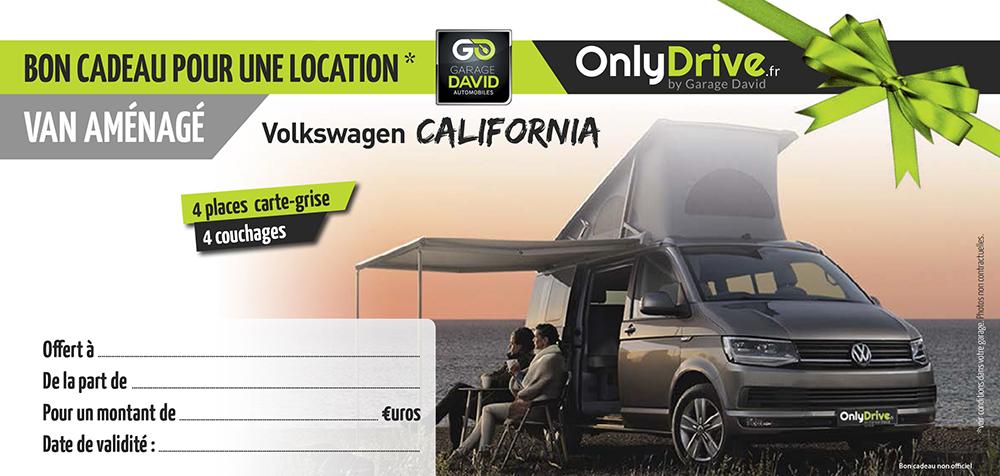 Bon cadeau pour une location d'un van aménagé Volkswagen California au Garage David à Saint Fulgent