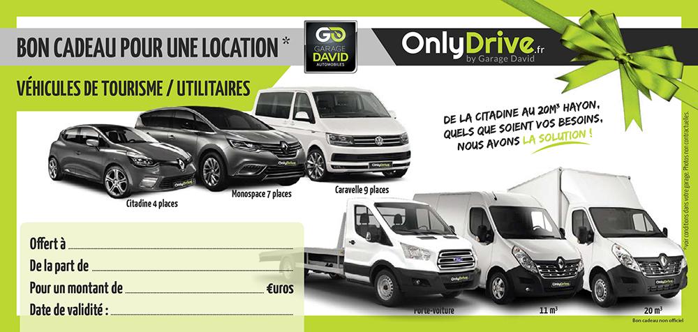 Bon cadeau pour une location pour véhicule de tourisme et utilitaire au Garage David à Saint Fulgent